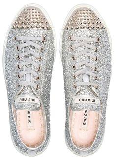 Miu Miu Silver Glitter Sneakers w/ Studs