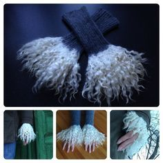 DIY - Wrist warmers (cuffs) with locks felted on Fingerless Mittens, Knit Mittens, Wrist Warmers, Hand Warmers, Yarn Crafts, Felt Crafts, Yarn Needle, Needle Felting, Wooly Bully