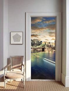 removable wallpaper mural peel u0026 stick door sticker new york at night by uniqstiq on etsy