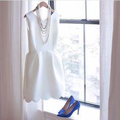 Scallops. (Also bridal shower or wedding rehearsal dress idea + something blue )