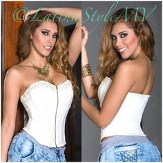 💖Stunning Corset/Top💖Beige ,Red colors 🎀Stunning Corset/Top 🎀 🎀Stretchy Material🎀 🎀Unique Desings 🎀 100% Made in Colombia. Sizes : S-M-L ( color as picture or available also in red color ) Tops