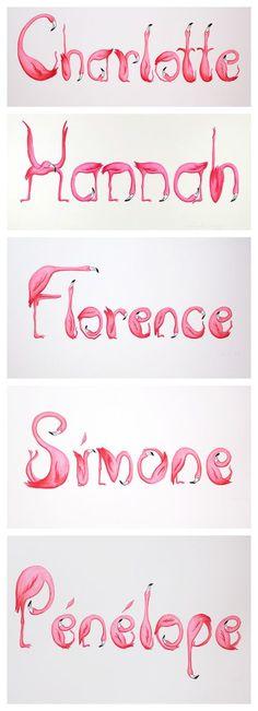 Pink Flamingos names, letters, hand draw by Amelie Legault on Etsy. perfect for nursery. Prénoms en lettres de flamants roses, par Amélie Legault sur Etsy, parfait pour chambre d'enfant. https://www.etsy.com/ca/listing/152966602/customized-pink-flamingos-children-or #flamingo #nursery #custom #flamant #prenom #dessin #drawing
