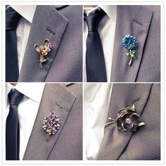 vintage floral handmade boutonniere. how cute!