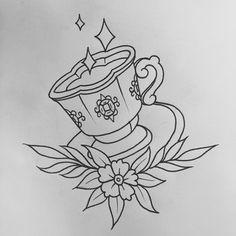 Oldschool Coffee Cup Tattoo Flash