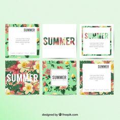 Tarjetas florales de verano