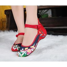 Women's Shoes Old Peking Mary Jane Flat Heel Demin Flats with Embroidery Soft Sole Casual Shoes – USD $ 19.99