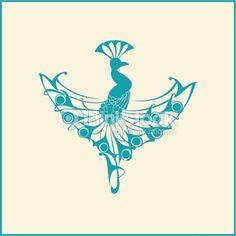 Peacock. Design element in art nouveau style