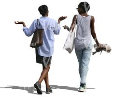 Two black women walking and talking