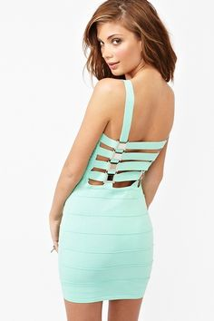 Buckle Up Bandage Dress from NG. This mint color is fantastic.