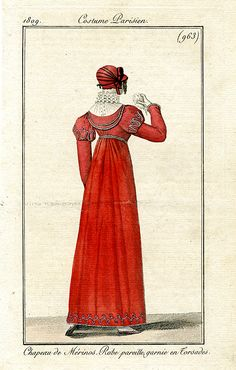 Back view of bright orange/ red gown, 1809 Costume parisien
