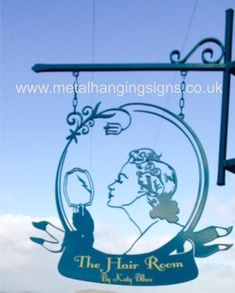 Personalised outdoor Sign for hair salon by MetalHangingSigns