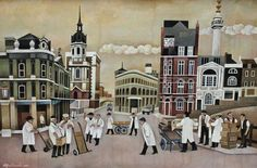 Alfred Daniels Preparing for market, oil on board, signed and dated x Sir John Cass, Ben Shahn, Art Competitions, Royal College Of Art, Fine Art Auctions, Naive Art, Dog Show, East London, American Artists