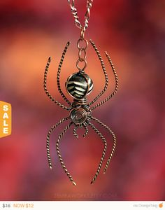 Orb Weaver Spider Pendant Necklace by ZemraJewelry - A Wickedly Wonderful Weaver!