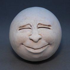 Man-in-the-Moon Garden Head Antique by thefunnything on Etsy (Art & Collectibles, Sculpture, moon, face, white, ooak, original, fun, garden art, outdoor, whimsey, round, gift idea, sculpture, unique)