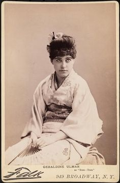 """Falk photo of Geraldine Ulmar as Yum-Yum in the authorized 1885 American production of """"the Mikado."""" Falk photograph."""