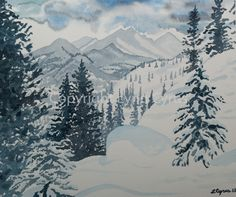 This original watercolor depicts a wintry day in Rocky Mountain National Park in Colorado. The Rocky Mountains, with Long's Peak in the center, stretch out in the background, and a snowy, hilly pine forest covers the foreground. A more monochrome-style painting, this is primarily painted in shades of blue and green. http://www.etsy.com/listing/129364471/original-watercolor-winter-landscape?ref=listing-shop-header-1