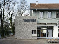 Restaurant Turbinenhaus – Signaletik Web Design, Restaurant, Garage Doors, Outdoor Decor, Home Decor, House, Design Web, Decoration Home, Room Decor