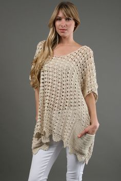 single crochet free tunic pattern | One Teaspoon Canyon Crochet Tunic. Oversized openwork crochet style ...