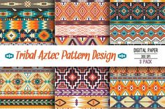 Collection Bright Aztec Patterns by tomuato on @creativemarket
