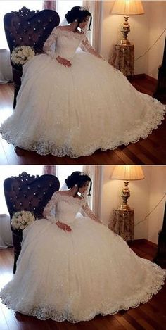 Simple Prom Dress, Ball Gown Off-the-Shoulder Long Sleeves Lace Wedding Dress with Beading Sa. - - Simple Prom Dress, Ball Gown Off-the-Shoulder Long Sleeves Lace Wedding Dress with Beading Saloni Dresses Source by trendweddingdresses Wedding Dress Tea Length, Off Shoulder Wedding Dress, Lace Wedding Dress With Sleeves, Lace Ball Gowns, Ball Gown Dresses, Long Wedding Dresses, Dress Wedding, Bridesmaid Dresses, Wedding List