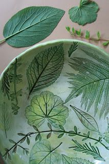 The Skillful Bee: Ceramic Bowl w Nature Impressions jax how does she get the gorgeous soft green? Underglaze?