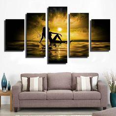 5 Piece sunrise at seabeach Canvas