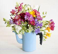 Flores: celósias e frésias no bule arranjo de Helenas Lunardelli