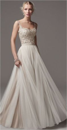 Romantic beaded bodice wedding dress with effortless pleated tulle skirt; Featured Dress: Maggie Sottero Romantic beaded bodice wedding dress with effortless pleated tulle skirt; Tulle Skirt Wedding Dress, Bridal Dresses, Prom Dresses, Formal Dresses, Tulle Skirts, Spagetti Strap Wedding Dress, Wedding Dress Straps, Pleated Skirt, Wedding Dress Top