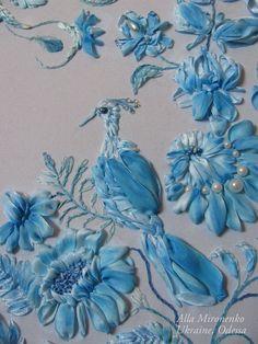 Blue birds #ribbonEmbroidery