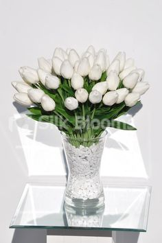 Home Decor With Flowers Elegant Real Touch White Tulips In Large Vase Fl Arrangement Silk Silkblooms