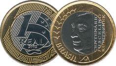 Moeda brasileira de um real alusiva ao centenário de nascimento de Juscelino Kubitscheck 2002