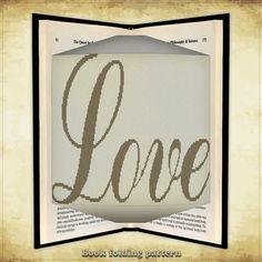 Book folding pattern Love for 452 folds  by FoldingBookPatterns