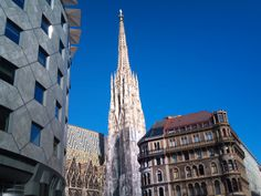"""Vienna Stephansdom with """"Haas-Haus"""" in front"""