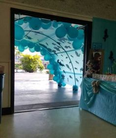 Main entrance was a tunnel to Kevani's under the sea birthday party. Main entrance was a tunnel to Kevani's under the sea birthday party. Moana Birthday Party, Moana Party, Mermaid Birthday, Birthday Party Themes, Birthday Table, Birthday Kids, Birthday Balloons, Birthday Door, Blue Birthday