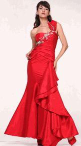 #20116cin--Red Sweetheart Neckline Single Shoulder Mermaid Style Long Prom Dress(Size 4 to 18)