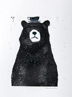 Little black bear with a teacup hat