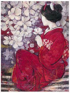 Geisha Paintings | Geisha Art, Paintings, Photos, IvoGeisha-Reflection.jpg