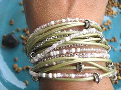 """**Limited Time Offer** 10% off...Use PIN10 coupon code    Boho Chic Endless Pale Sage Leather Wrap Beaded Bracelet with Silver Accents....""""FREE SHIPPING"""" by LeatherDiva, $39.00"""