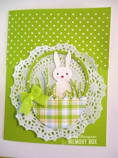 Sweet Bunny Baskets with the Grass Stitched Circle Frame and half of the Cracked Up Egg by Anne Thompson - Outside The Box - Welcome to our website, We hope you are satisfied with the content we of - # Diy Easter Cards, Easter Greeting Cards, Easter Crafts, Kit Bebe, Easter Holidays, Handmade Birthday Cards, Kirigami, Halloween Cards, Paper Cards