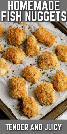 These homemade Fish Nuggets are deliciously crisp and full of flavor. Breaded then baked until golden, then served with a caper-dill dip! #spendwithpennies #fishnuggets #recipe #appetizer #snack #homemade