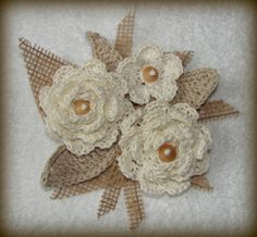 Etsy - Crocheted linen flower bouquet with wood pearl