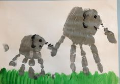 elephant hand print art