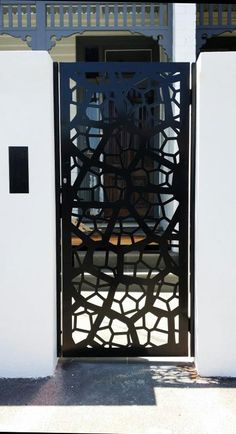 Decorative screens can make an enchanting entrance way to your home or business . Here's the 'Pretoria' design in black powder-coated aluminum. See our web-site for a distributor near you. ~QAQ Melbourne