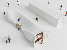 Designers Explore an Entirely New Use for Shipping Containers in Seoul's Design District,Courtesy of NL Architects Container Architecture, Landscape Architecture, Interior Architecture, Landscape Design, Pavilion Architecture, Industrial Architecture, Zaha Hadid, Kiosk Design, Signage Design