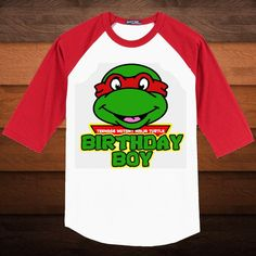 Birthday Boy TMNT - Baseball Shirt - Pick Mask Color and Sleeve Color. $18.00, via Etsy.