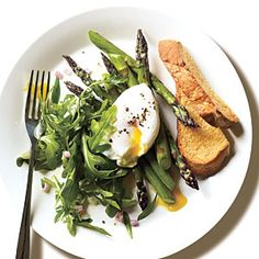 Great Phase 3 brunch idea (skip the bread or use sprouted grain). #FastMetabolismDiet Roasted Asparagus and Arugula Salad with Poached Egg | MyRecipes.com