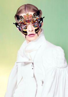 Dazed and Confused, June 2012 ph: Ben Toms make up: Peter Philips styling: Robbie Spencer model: Elza Lui. Butterfly Effect, Butterfly Kisses, Butterflies, Butterfly Mask, Butterfly Makeup, Butterfly Ornaments, Butterfly Fashion, Butterfly Dress, Dazed And Confused