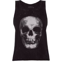 Eleven Paris Darn W Skull Tank (£38) ❤ liked on Polyvore featuring tops, shirts, tank tops, scoop neck tank, scoop neck shirt, cotton shirts, destroyed shirt and skull print shirt
