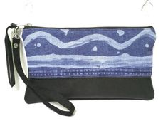 UPCYCLED Spring Denim Clutch. Bleached Jean Pouch. Recycled Black Leather Purse. Hand Painted Bag. Removable Wrist Strap.