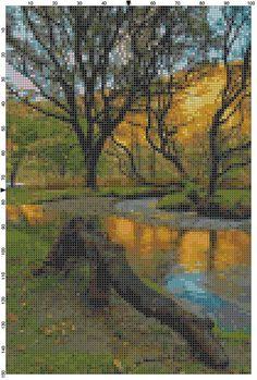 Cross Stitch Pattern Autumn at Glendalough by theelegantstitchery, $10.00